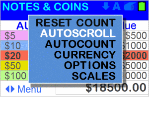 Note and coin money counter - Main menu