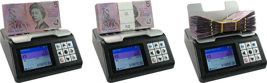 Pictures of note counter counting banknotes